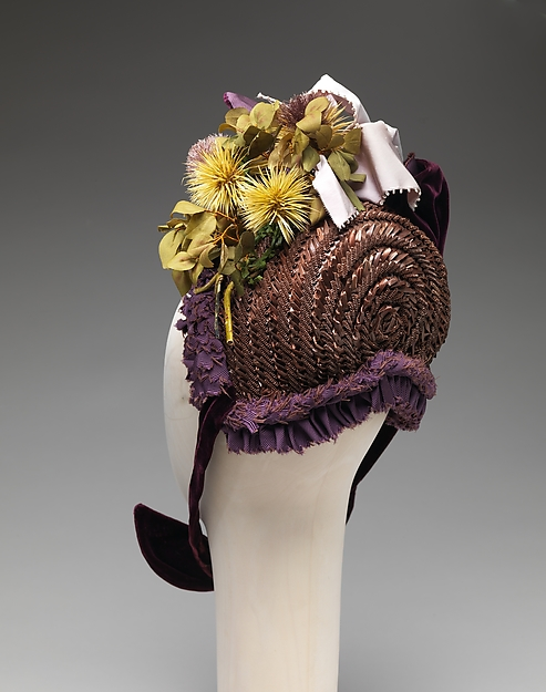 Bonnet, straw, silk, French