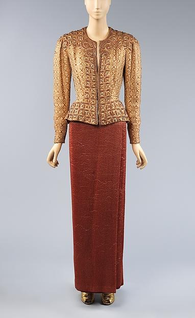 Evening jacket, Attributed to Elsa Schiaparelli (Italian, 1890–1973), Silk, linen, metallic, rhinestones, beads, French