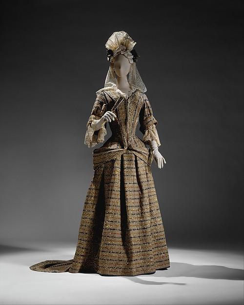 Mantua, wool, metal thread, British