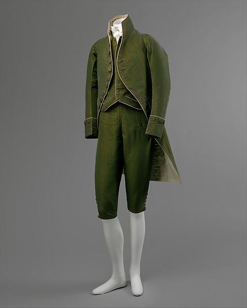Ensemble, a) silk; b,c) silk, linen, French