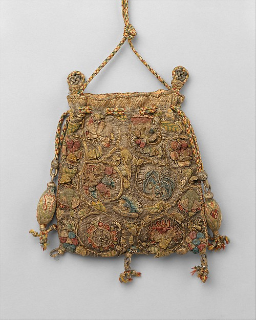British embroidered purse sweet bag. 16th century.The Met.