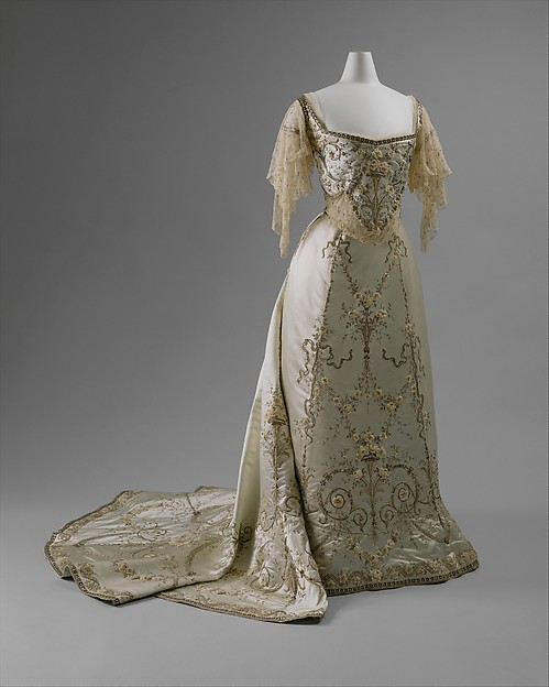 Ball gown, House of Worth (French, 1858–1956), silk, cotton, metallic thread, glass, metal, French