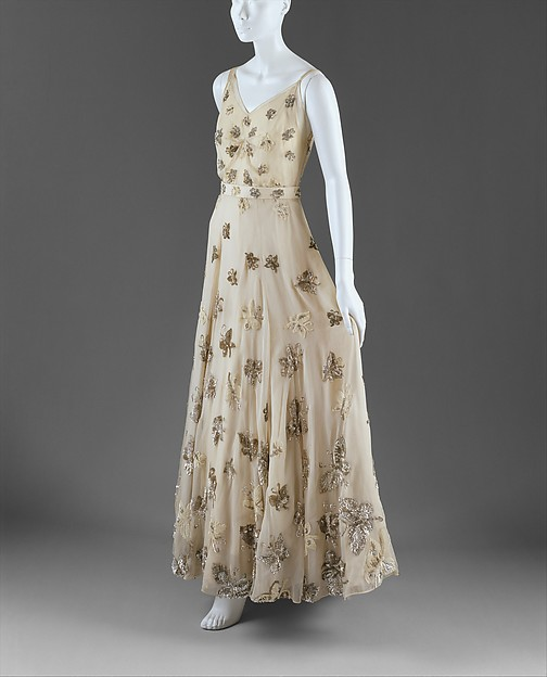 Evening dress, Mainbocher (American, 1890–1976), silk, spangles, French
