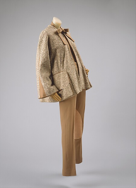 Ensemble, Vera Maxwell (American, 1901–1995), (a-c) wool (d) silk (e, f) leather, American