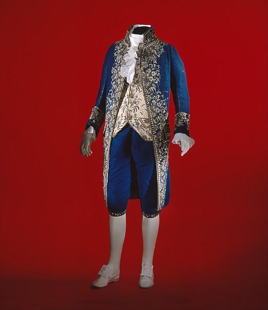 Court suit, silk, metallic thread, paste, French