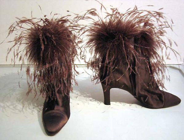 Shoes, Valentino (Italian, born 1932), a,b) silk, feathers, leather, Italian