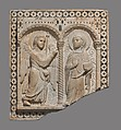 Relief with the Annunciation, Carrara marble inlaid with serpentine (verde di Prato), Italian