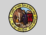 Roundel with Christ Healing the Blind Man, Hirschvogel Workshop, Colorless and pot-metal glass with vitreous paint, German