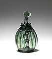 Pilgrim Flask with the Corpus Christi, Free-blown glass with applied decoration, German