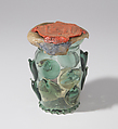 Reliquary Beaker (Krautstrunk), Free-blown glass with applied decoration; wax, silk, linen, and ink on vellum, German