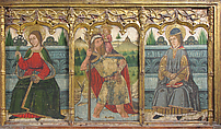 Predella pane with Saint Bridget, Saint Christopher, and Saint Kilian from Retable, Domingo Ram (Spanish, Aragon, active 1464–1507), Tempera on wood, gold ground, Spanish