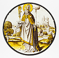 Roundel with Saint Lambrecht of Maastricht, Colorless glass, vitreous paint and silver stain, South Netherlandish