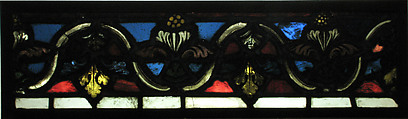 Section of a Border, Rémois Atelier (French, active Reims, late 12th–early 13th century), Pot-metal glass and vitreous paint, French
