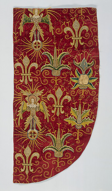 Opus Anglicanum (Chasuble), Silk and metallic threads on linen; appliqué on silk velvet foundation with silk embroidery and silver-gilt shot, British