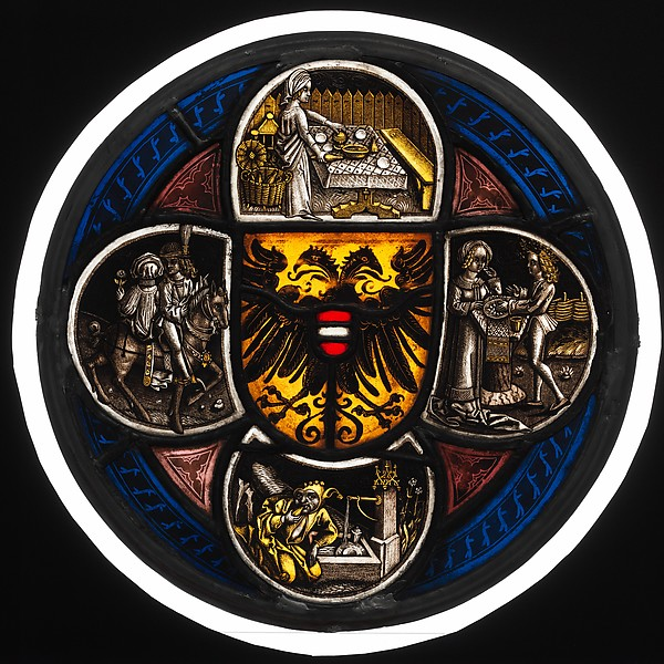 Quatrefoil Roundel with Arms and Secular Scenes, Pot-metal glass, white glass, vitreous paint, and silver stain, German