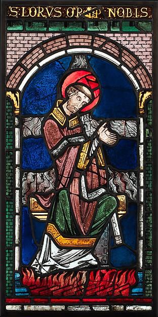 Martyrdom of Saint Lawrence, Pot-metal glass, vitreous paint, British