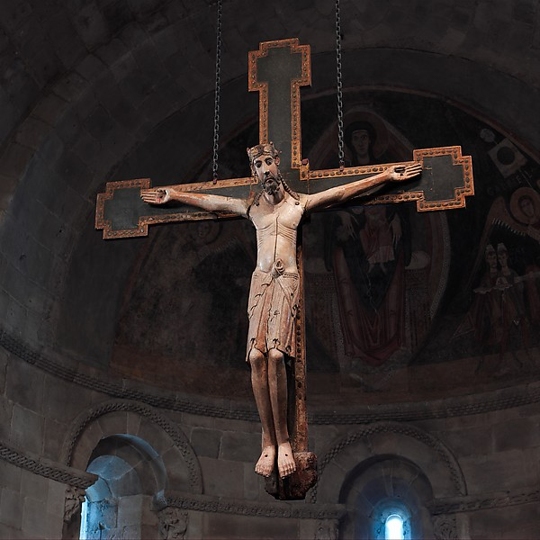 Crucifix, White oak with paint, gold leaf, and tin leaf (corpus); softwood with paint and tin leaf (cross), Spanish
