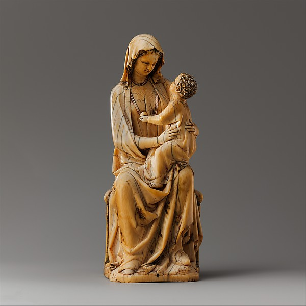 Enthroned Virgin and Child, Elephant ivory with traces of paint and gilding, French
