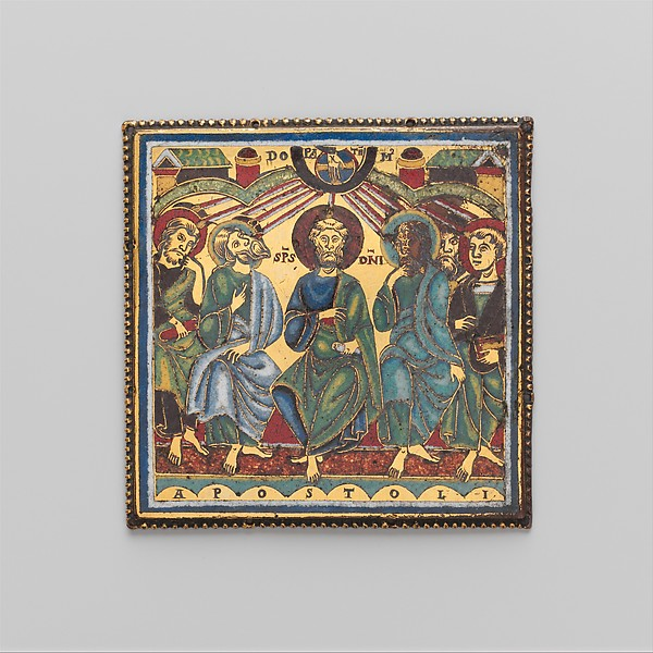Plaque with the Pentecost, Champlevé and translucent enamel on copper gilt, South Netherlandish