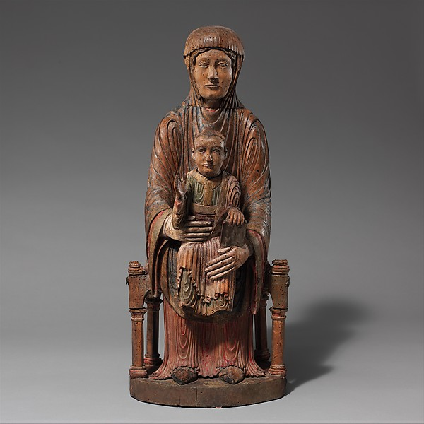 Enthroned Virgin and Child, Walnut with gesso, paint, tin leaf, and traces of linen, French