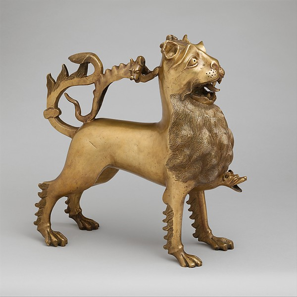 Aquamanile in the Form of a Lion, Copper alloy, German
