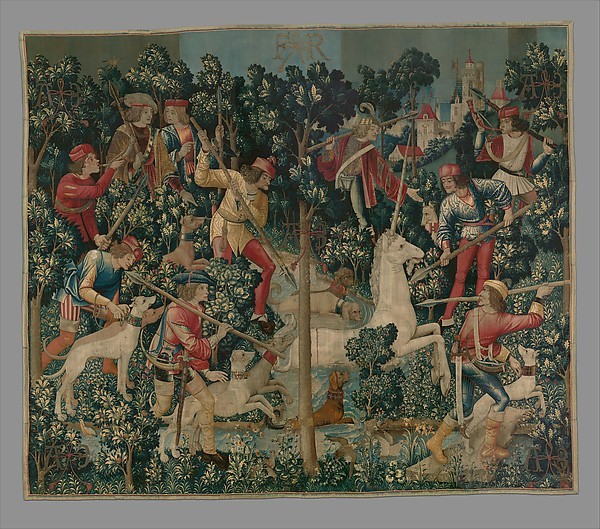 The Unicorn is Attacked (from the Unicorn Tapestries), Wool warp with wool, silk, silver, and gilt wefts, South Netherlandish