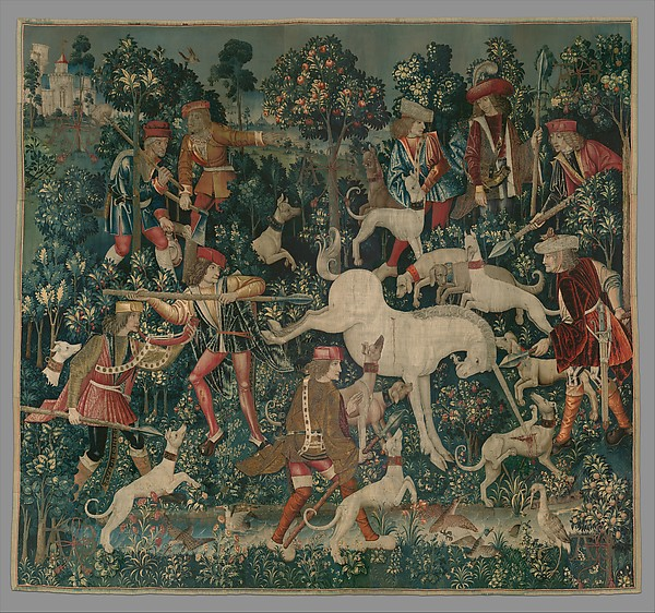 The Unicorn Defends Itself (from the Unicorn Tapestries), Wool warp with wool, silk, silver, and gilt wefts, South Netherlandish