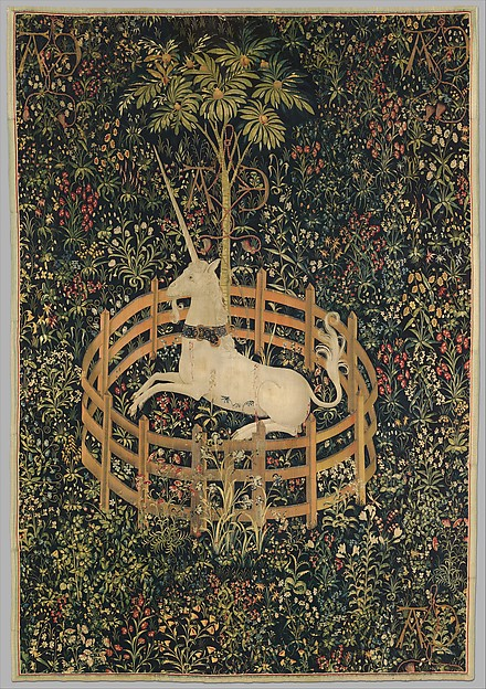 The Unicorn in Captivity (from the Unicorn Tapestries), Wool warp with wool, silk, silver, and gilt wefts, South Netherlandish