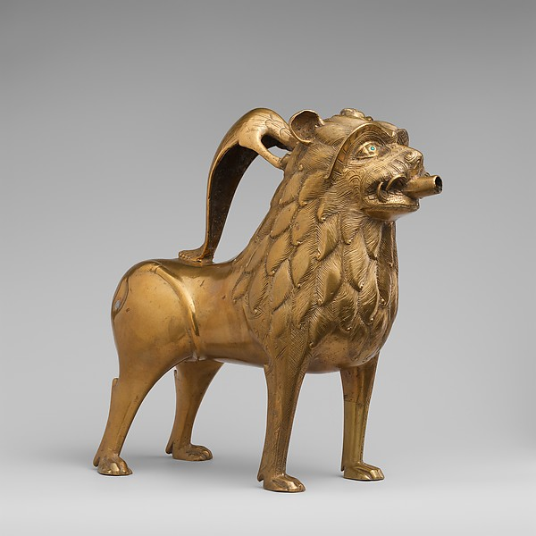 Aquamanile in the Form of a Lion, Copper alloy with inlaid glass, North German