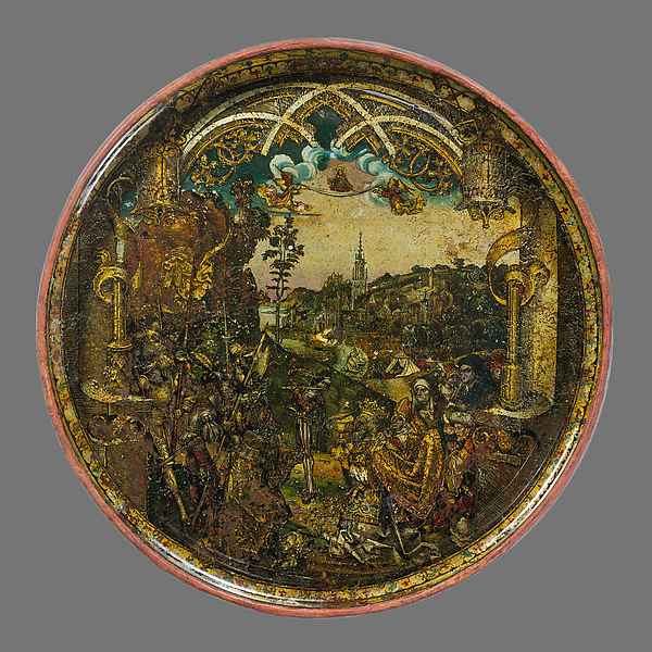Dish with Abraham and Melchizedek, Hans of Landshut (German, Landshut, active late 15th century), Free-blown glass with paint and metallic foils, South German