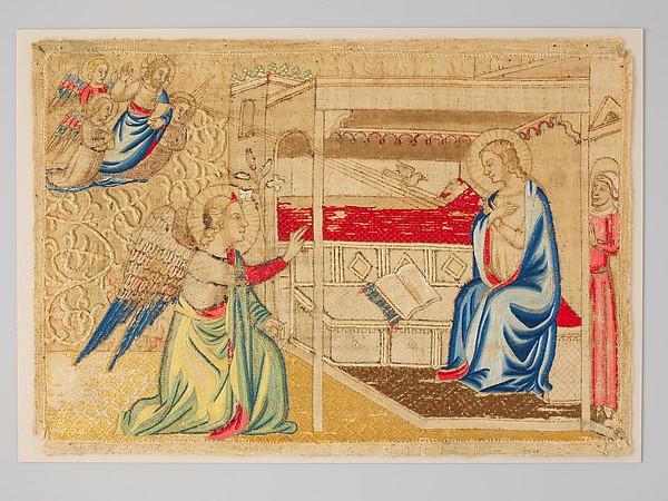 The Annunciation, Silk, cotton, and metallic threads, Italian
