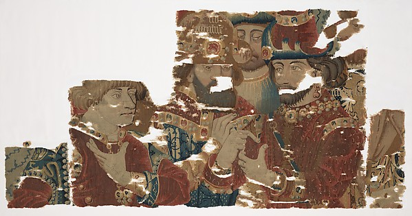 Busts of Achilles, Agamemnon, and Hector in Conference (from Scenes from The Story of The Trojan War), Probably produced through Pasquier Grenier of Tournai (Burgundian, died 1493), Wool warp, wool wefts with a few silk wefts, South Netherlandish