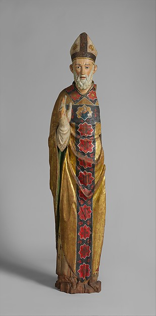 Blessing Bishop (Saint Nicholas of Bari), Poplar, paint, gilt, Central Italian