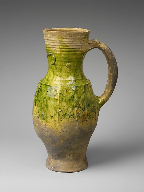 Pitcher, Earthenware, partially covered with a green lead glaze, French