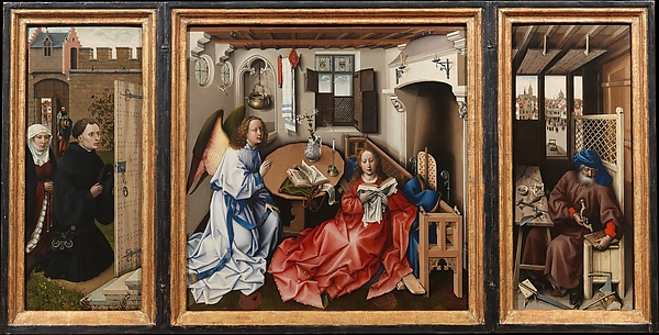 Annunciation Triptych (Merode Altarpiece), Workshop of Robert Campin (Netherlandish, ca. 1375–1444 Tournai), Oil on oak, South Netherlandish