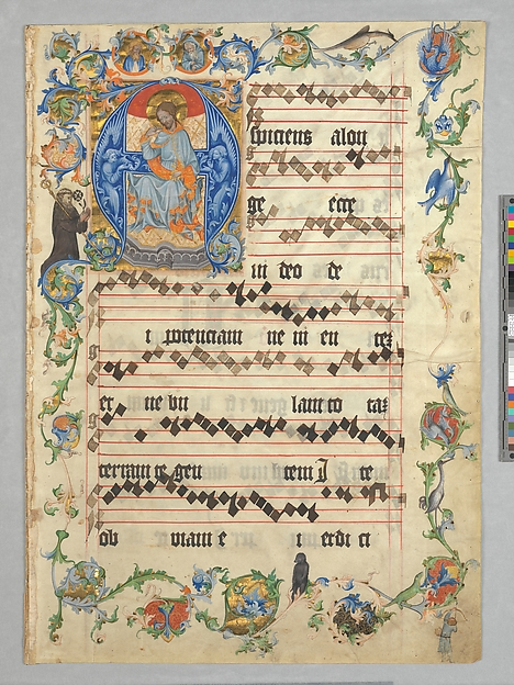 Bifolium with Christ in Majesty in an Initial A, from an Antiphonary, Tempera, gold, and ink on parchment, Bohemian