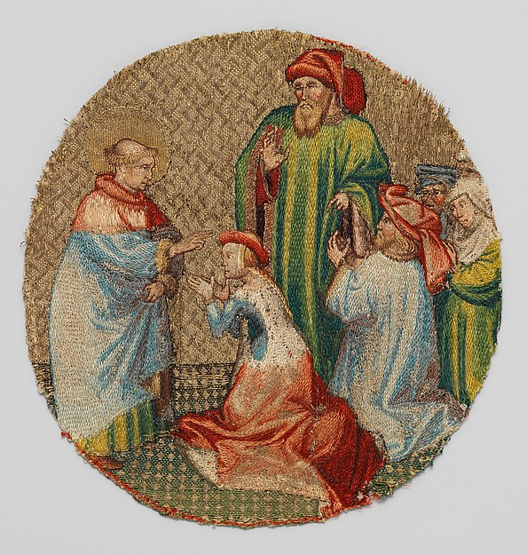The Empress Kneels Before Saint Martin, Silk and metal thread, and linen, South Netherlandish