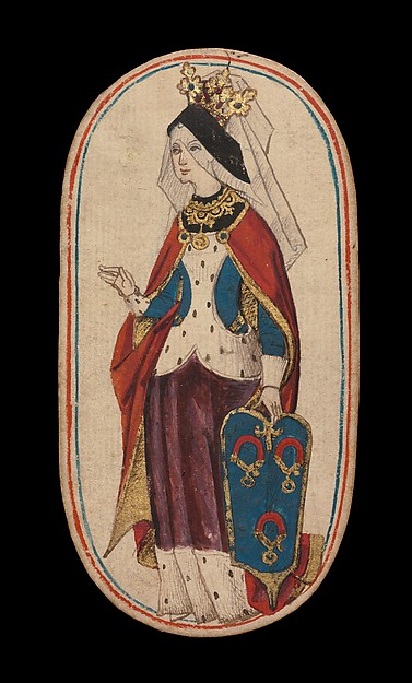 Queen of Collars, from The Cloisters Playing Cards, Paper (four layers of pasteboard) with pen and ink, opaque paint, glazes, and applied silver and gold, South Netherlandish