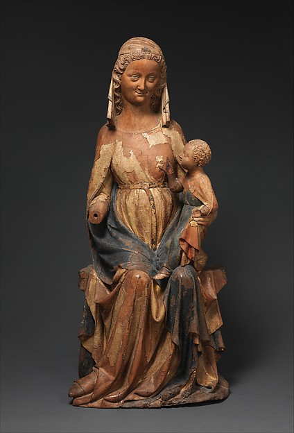 Seated Virgin and Child, Walnut, paint, gilt, French