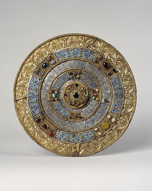 Liturgical Fan (Flabellum), Gilt bronze, champlevé enamel, silver, semiprecious stones, glass, gems, gold filigree, cabochons, German