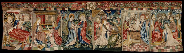 Scenes from the Life of the Virgin, Linen warp; wool, linen, silk, silver, and gilt wefts;  wool pile yarns, Upper Rhenish