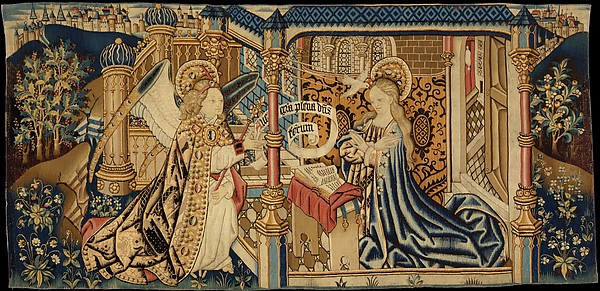 The Annunciation, Wool warp, wool and silk wefts, South Netherlandish