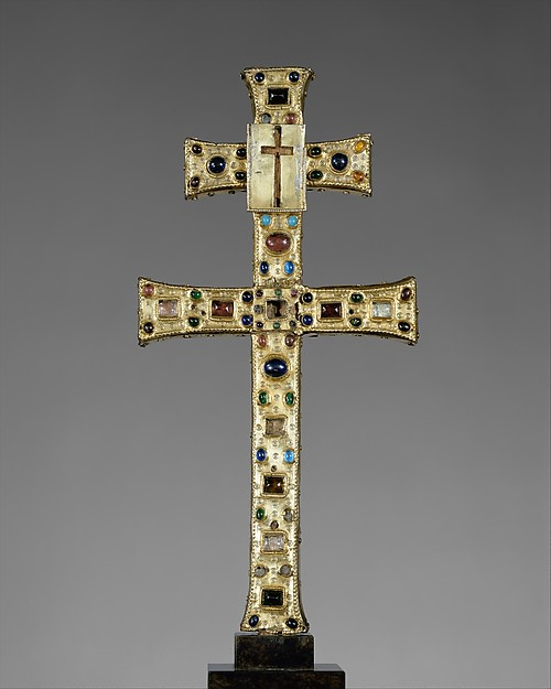 Reliquary Cross, Silver gilt, rock crystal, glass cabochons; wood core, French