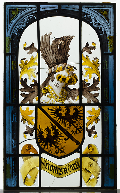 Heraldic Panel with Arms of the House of Hapsburg, Pot-metal glass, white glass, vitreous paint, and silver stain, South Netherlandish