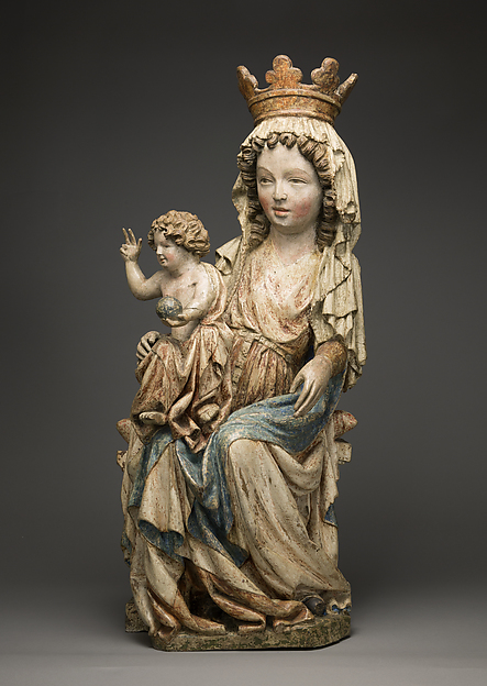 Enthroned Virgin and Child, Limewood with paint, Bohemian or Moravian