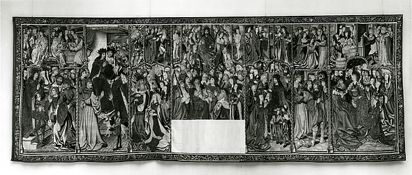 The Story of Esther and Ahasuerus (from Christ the Judge on the Throne of Majesty and Other Subjects), Wool warp;  wool, silk, and metallic wefts, South Netherlandish