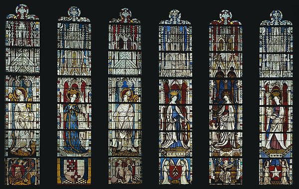 The Virgin Mary and Five Standing Saints above Predella Panels, Pot-metal glass, white glass, vitreous paint, silver stain, German