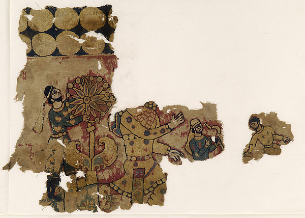 Fragments of a Wall Hanging with Figures in Persian Dress, Embroidery in polychrome wool on plain weave ground of undyed linen