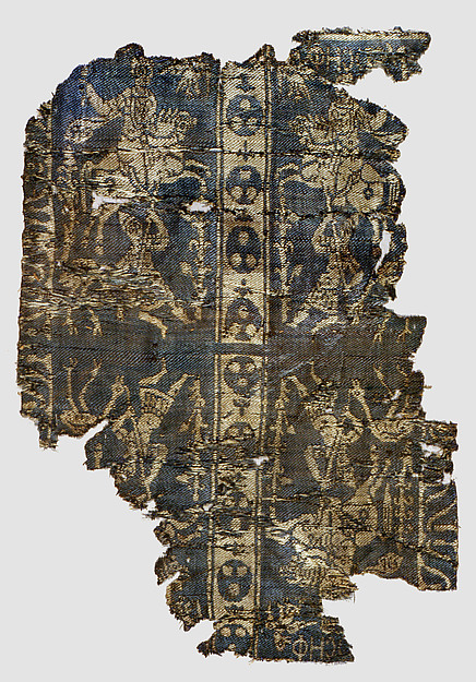 """Fragment of a Band with Noble Equestrian and Soldier, Inscribed """"Joseph"""" in Greek or Coptic, Weft-faced compound twill ( samit ) in blue-violet and beige silk"""