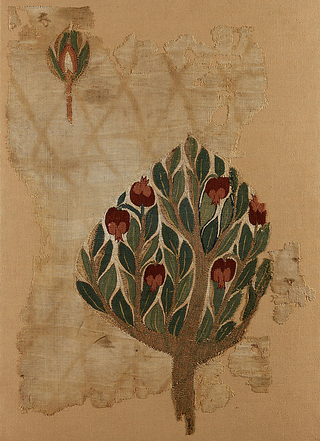 Textile Fragment with Tree, Tapestry weave in polychrome wool and undyed linen on plain-weave ground of undyed linen